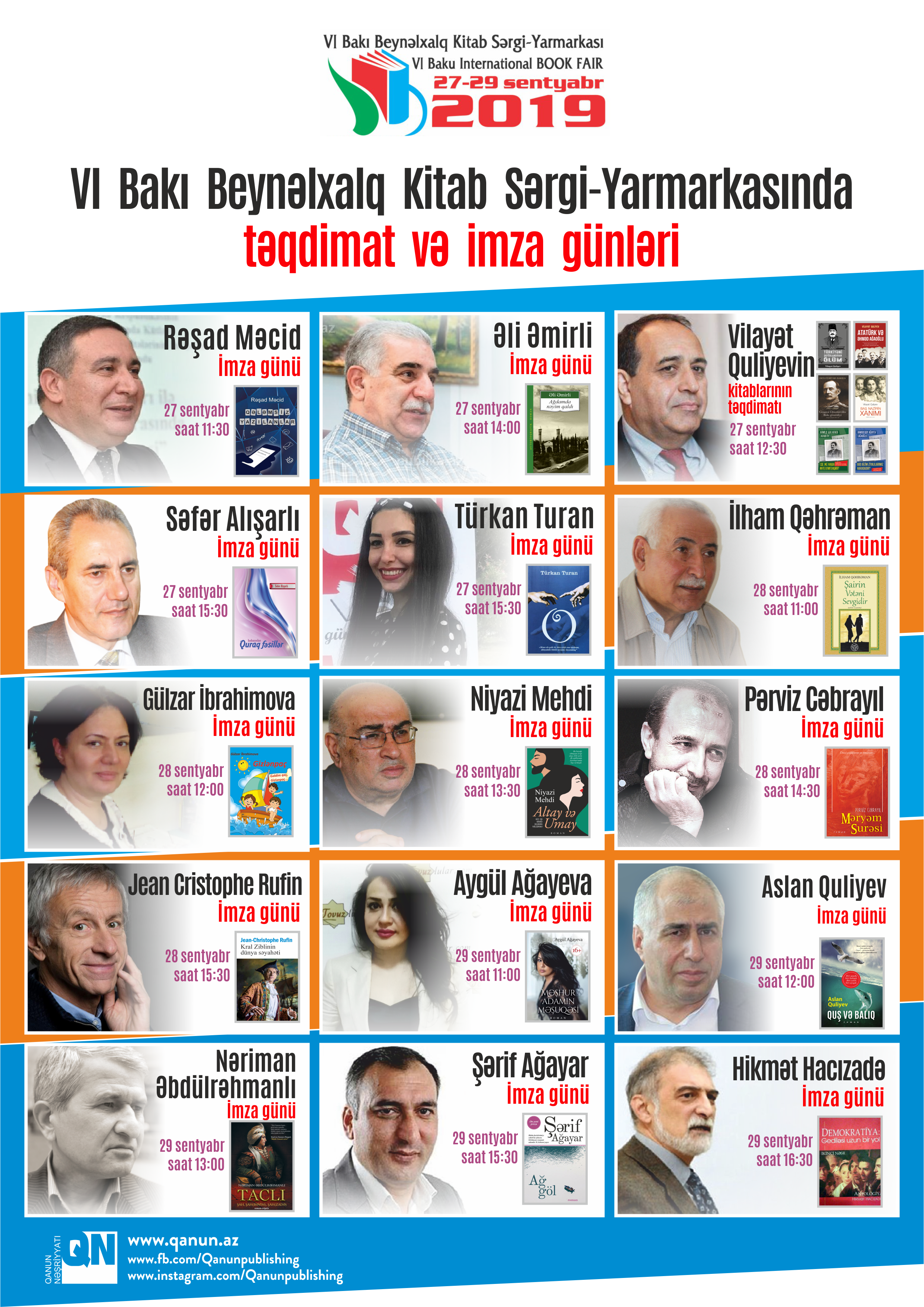 VI Bakı Beynəlxalq Kitab Sərgi-Yarmarkasında  kitabların təqdimat mərasimləri keçiriləcək
